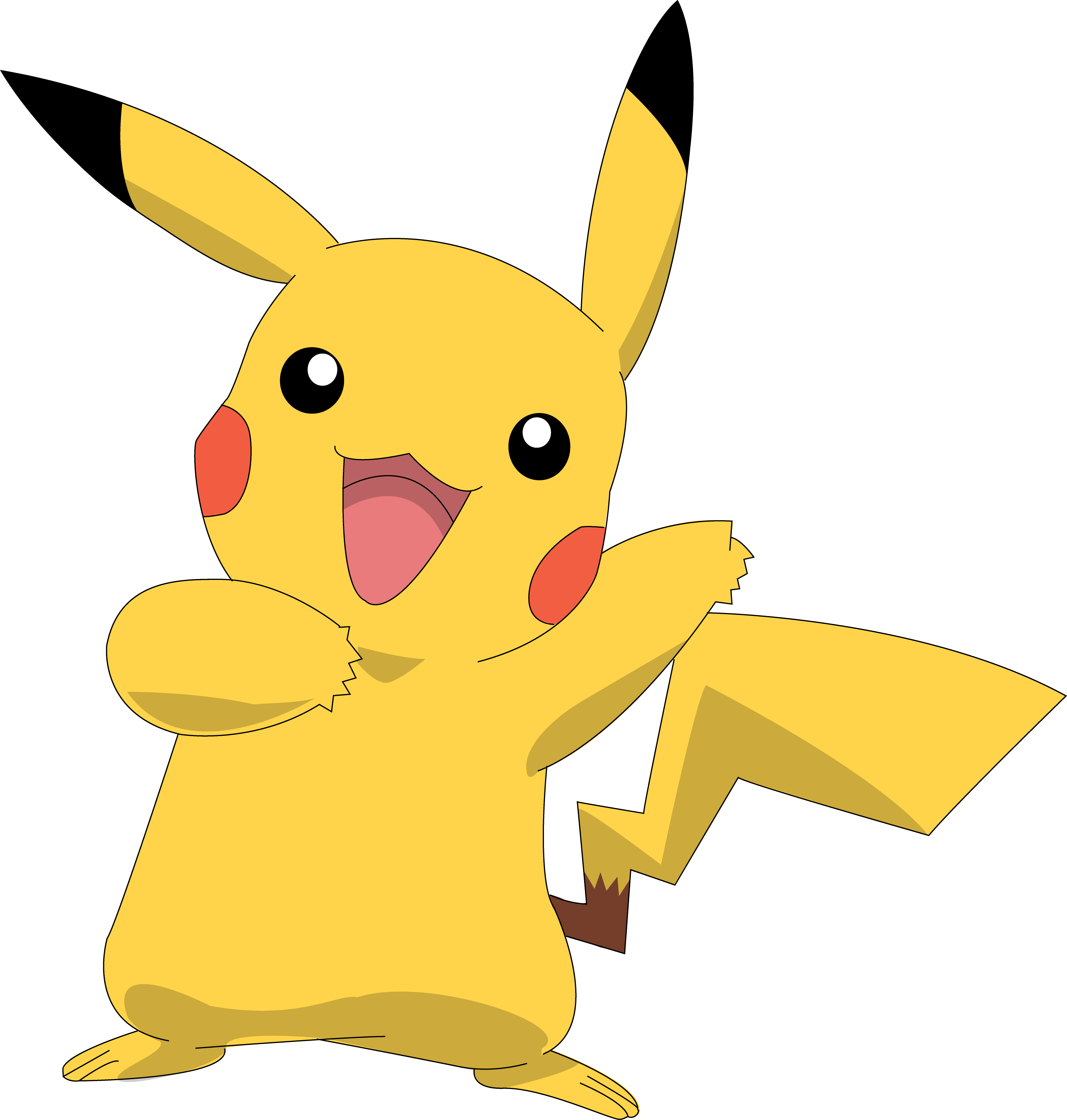 Coloriage pikachu heureux gratuit imprimer et colorier - Pikachu en dessin ...