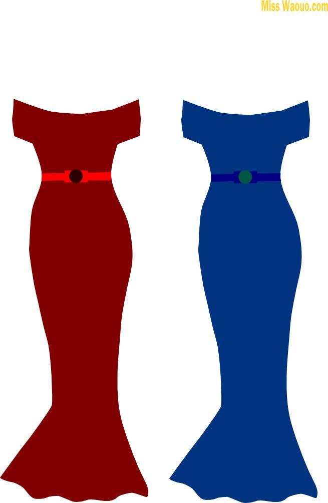 Robe rouge et bleue à découper