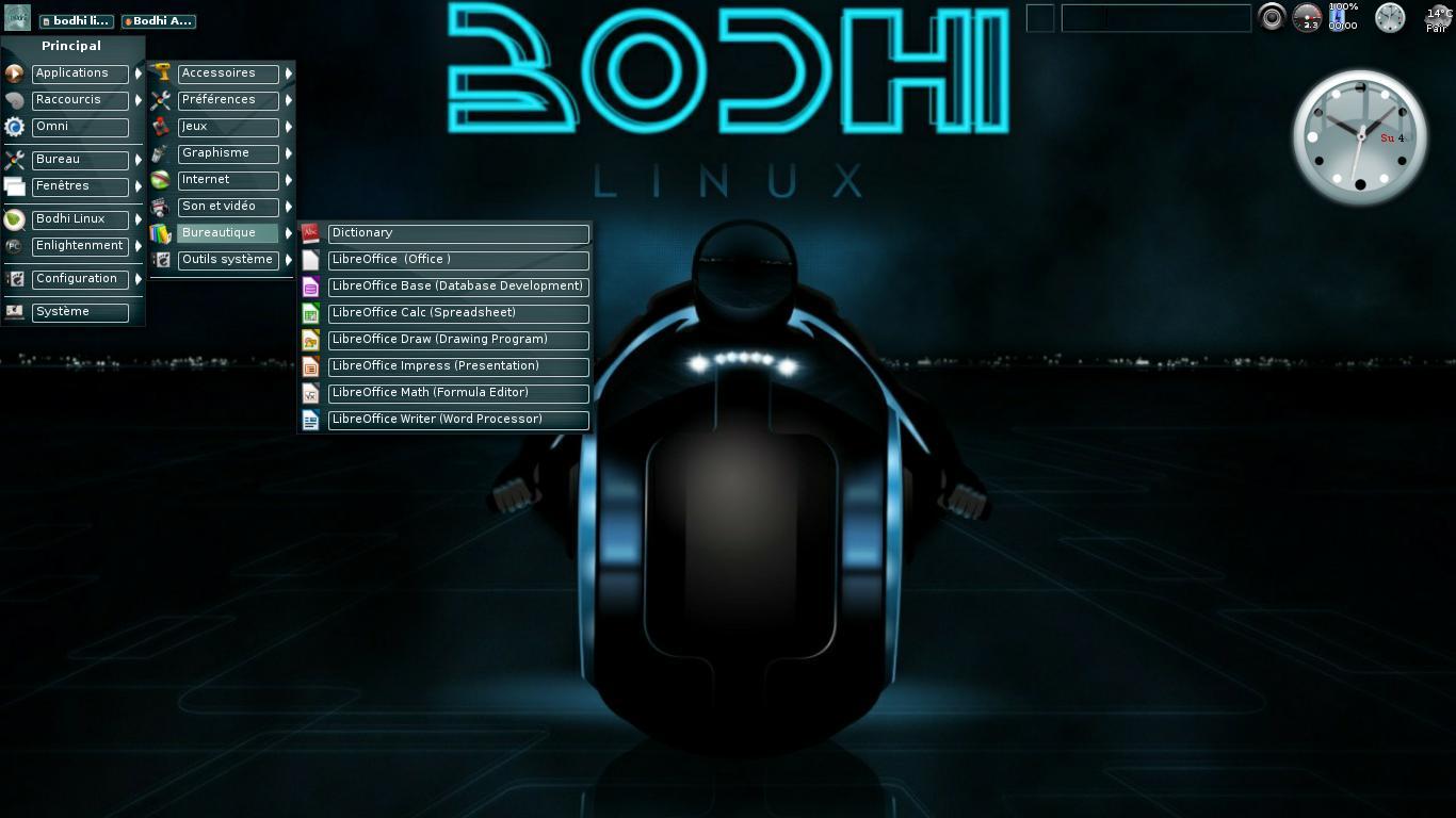 Bodhi Linux thème Tron