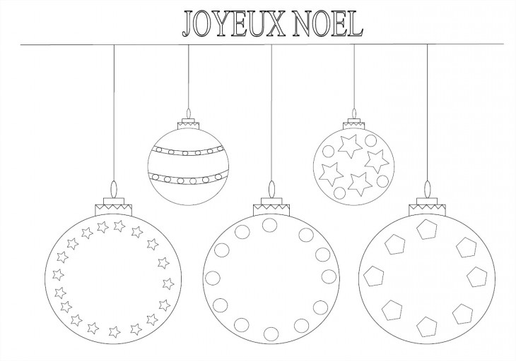 Coloriage boules de noël avec étoiles