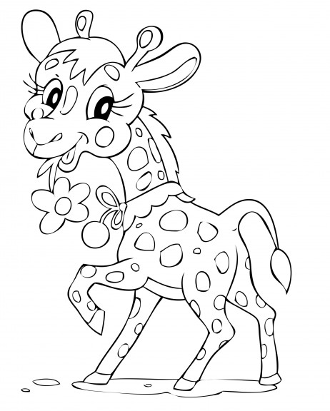 Coloriage girafe mignonne imprimer et colorier - Dessin girafe simple ...