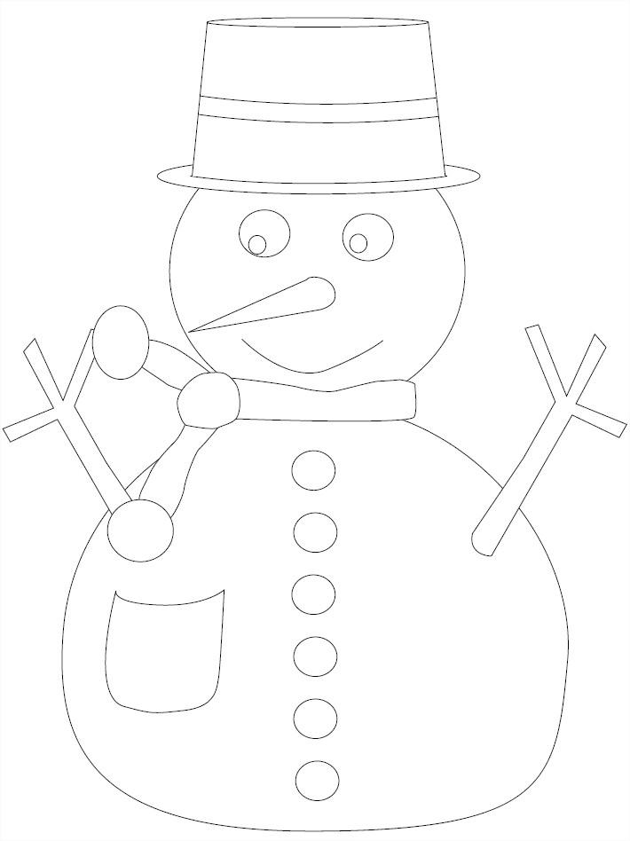 Coloriage gratuit bonhomme de neige