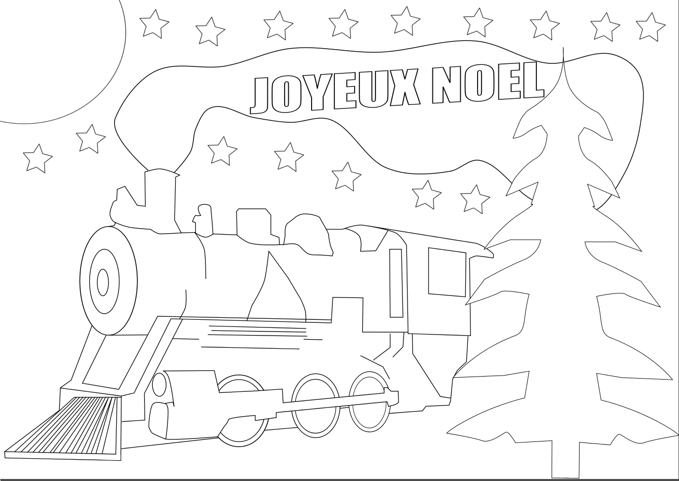 Coloriage Locomotive noel