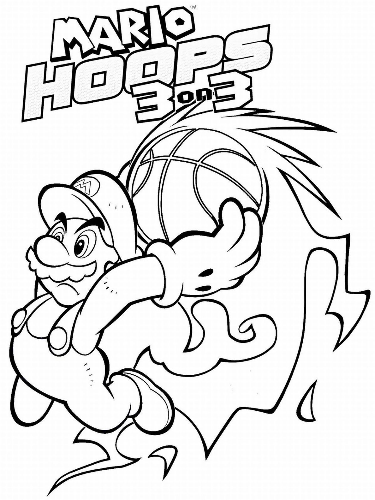 Coloriage Mario Slam Basketball