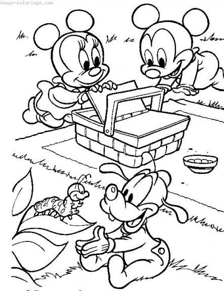 Coloriage Mickey Minnie Pluto bébé