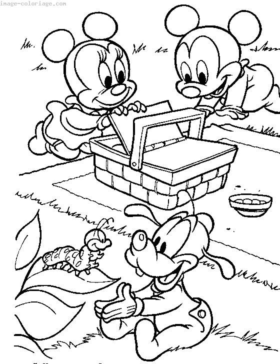 Coloriage Mickey Minnie Pluto bébé