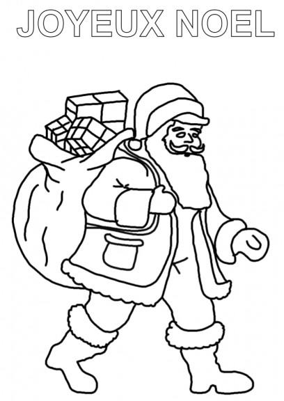 Coloriage père noël sac de cadeaux