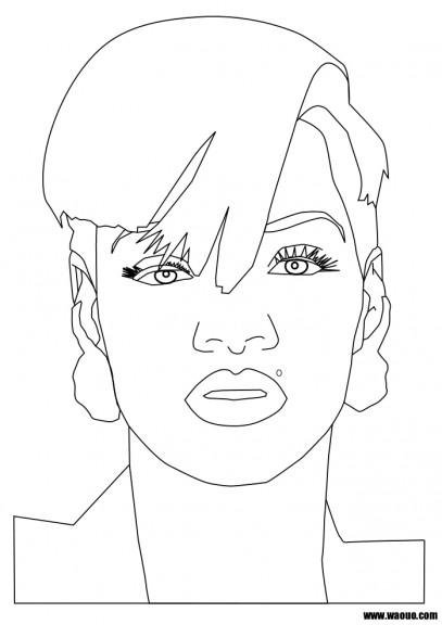Rihanna coloriage de rihanna imprimer et colorier - Coloriage chanteuse ...