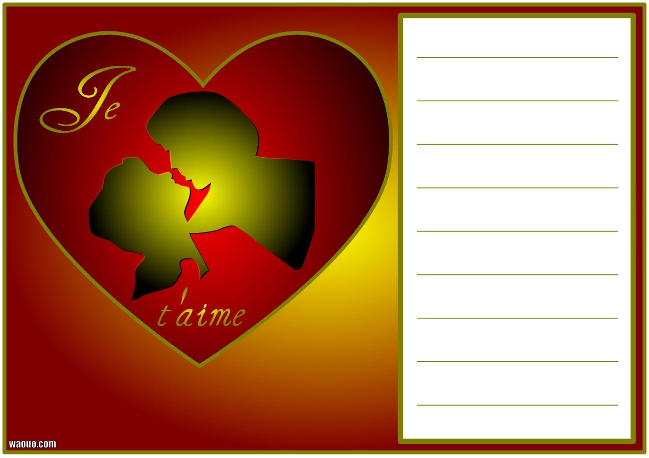 Carte je t'aime Saint Valentin