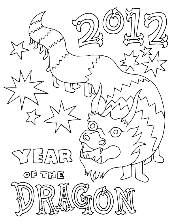 Coloriage 2012 dragon