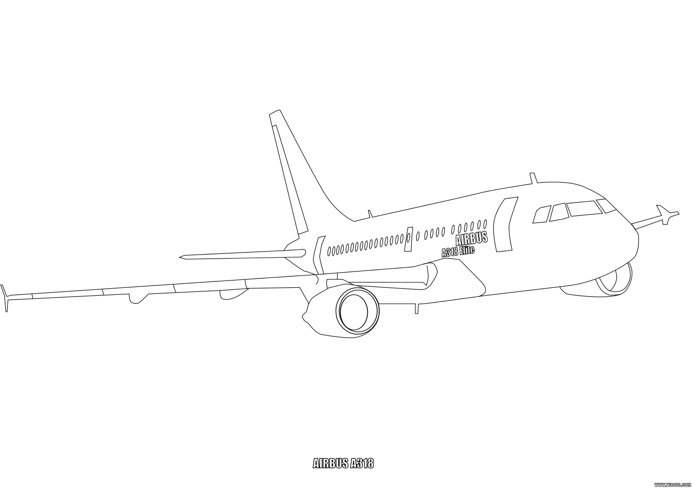 Coloriage Airbus A318