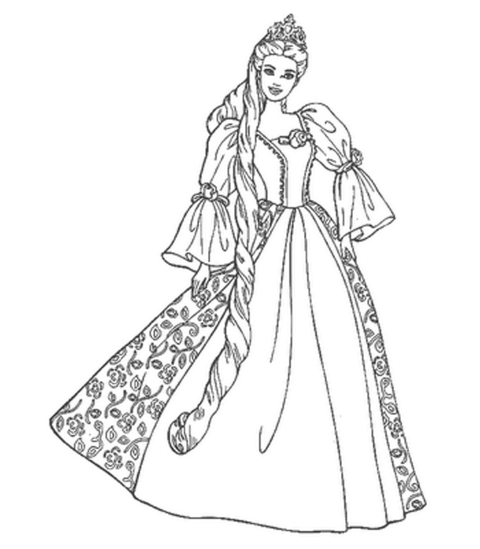 Coloriage barbie princesse raiponce