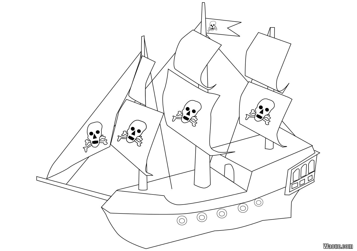 Coloriage bateau pirate imprimer et colorier - Dessin petit bateau ...