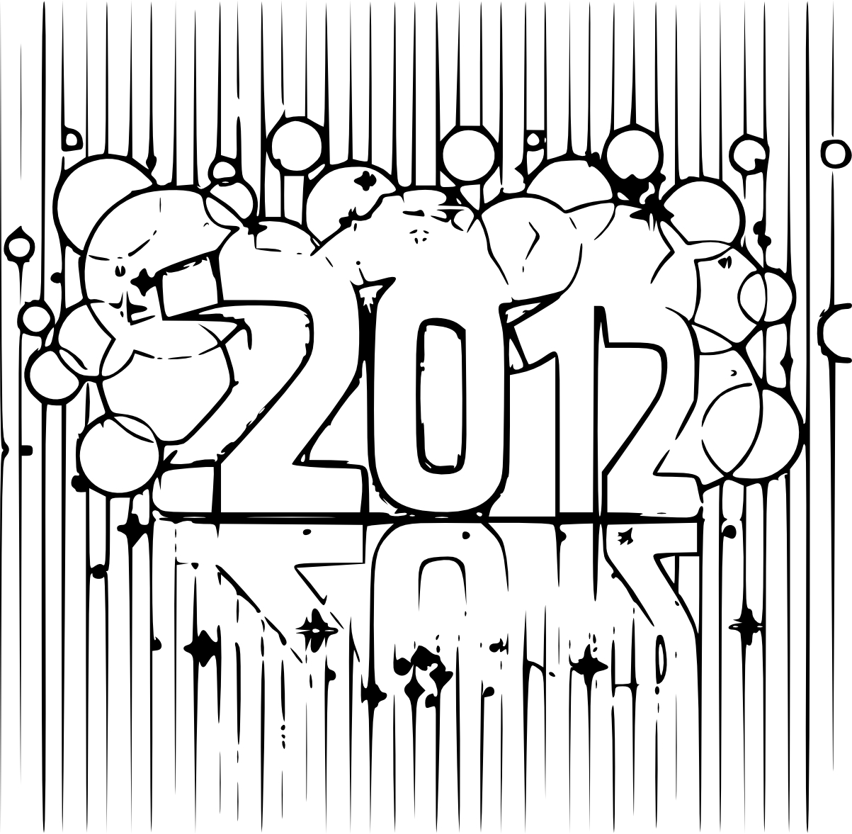Coloriage bonne année 2012