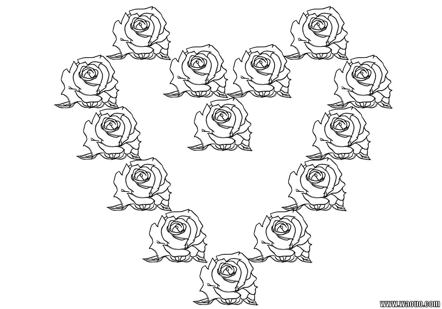 Coloriage coeur de roses pour la Saint Valentin à imprimer