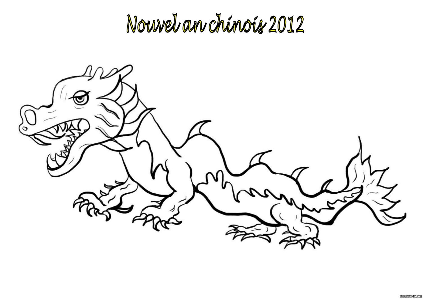 Coloriage dragon nouvel an 2012