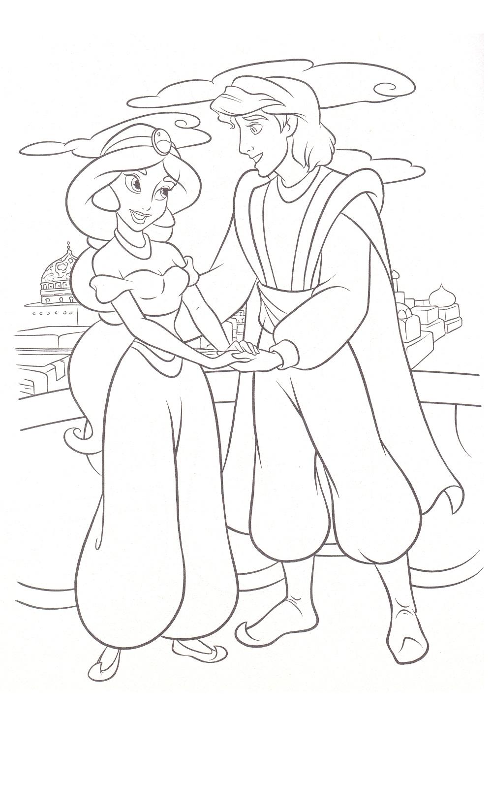 Coloriage Jasmine et Aladdin