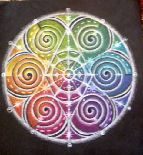 Mandala en couleur et en spirale
