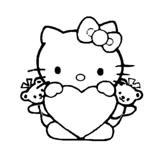 Coloriage Hello Kitty Saint Valentin