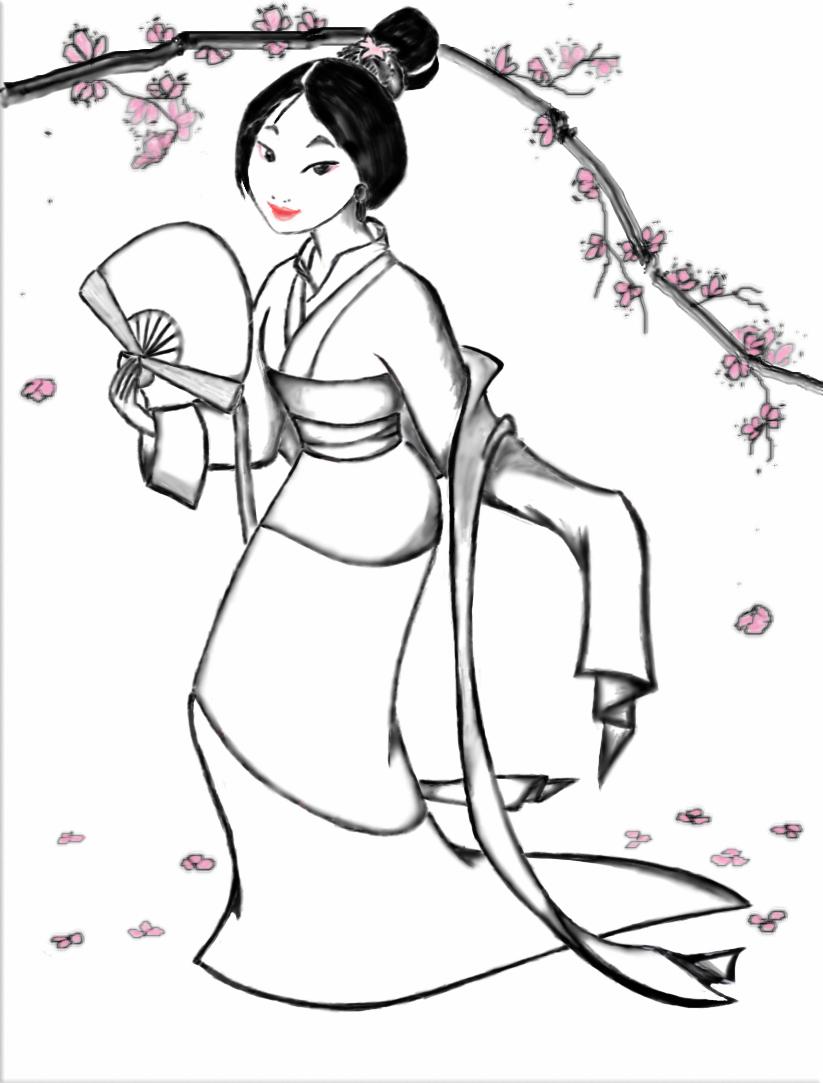 Coloriage Mulan à imprimer gratuit