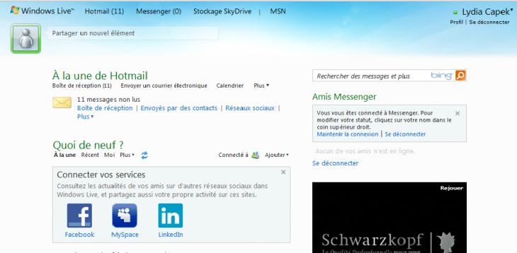Hotmail boite de réception