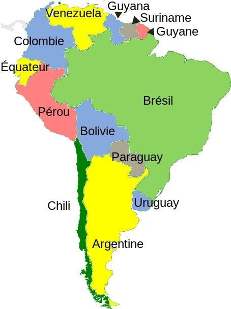 Carte Amerique Latine A Remplir.Carte De L Amerique Du Sud A Imprimer Et Completer