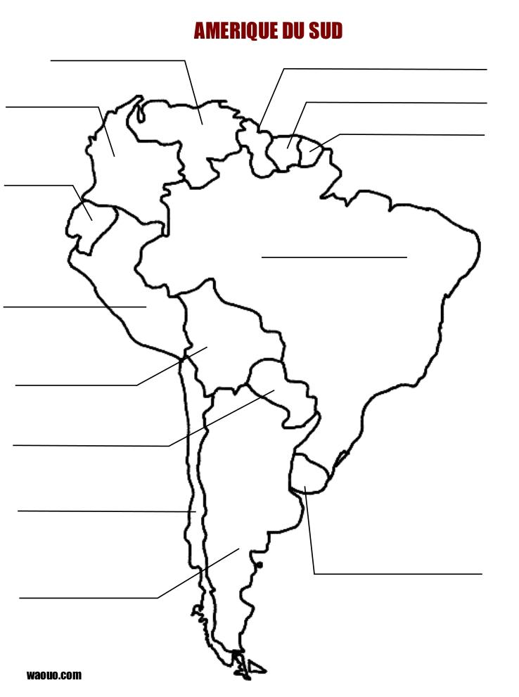 Carte Amérique du sud vierge