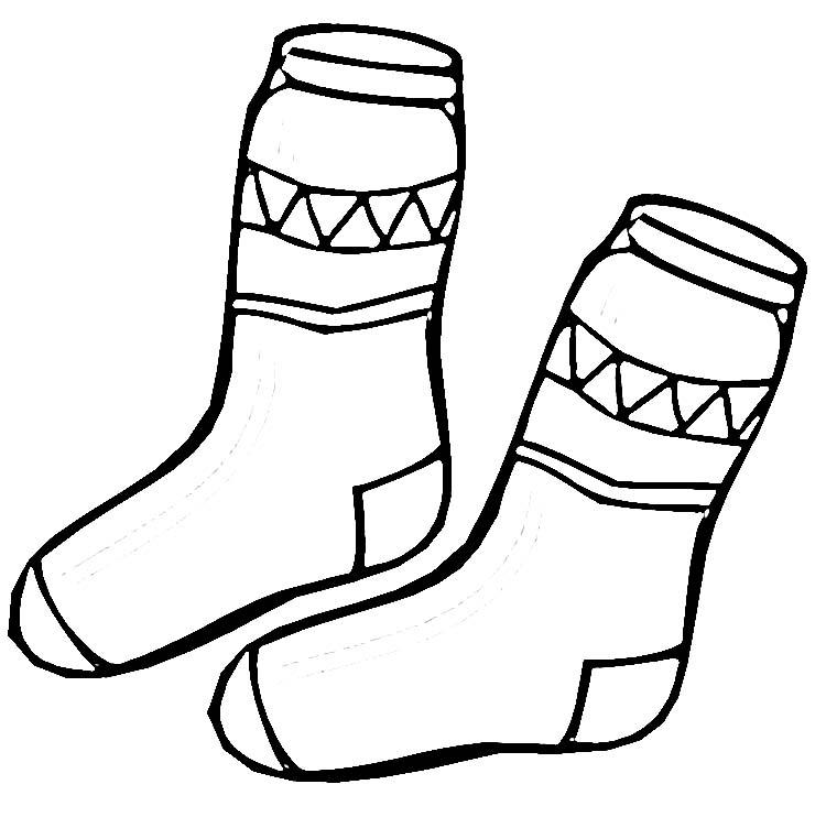 Coloriage chaussettes d'hiver