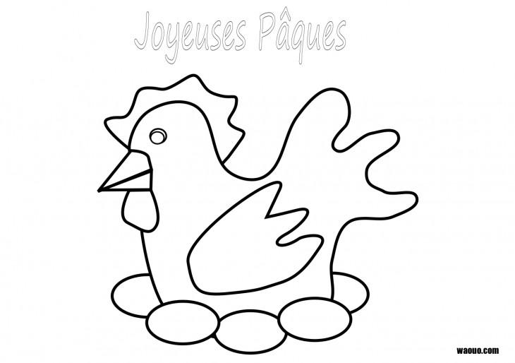 Coloriage Poule de pâques à imprimer et colorier