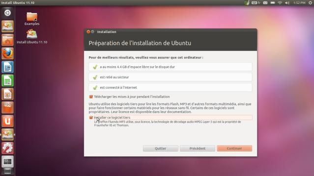 Partition installer Ubuntu 11.10