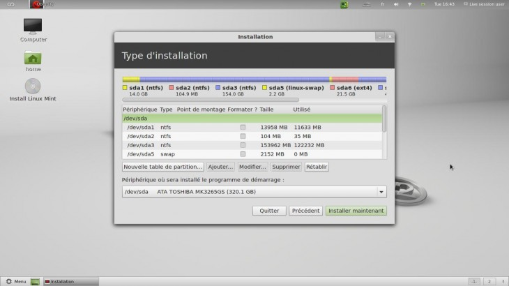 Partitionnement Linux Mint
