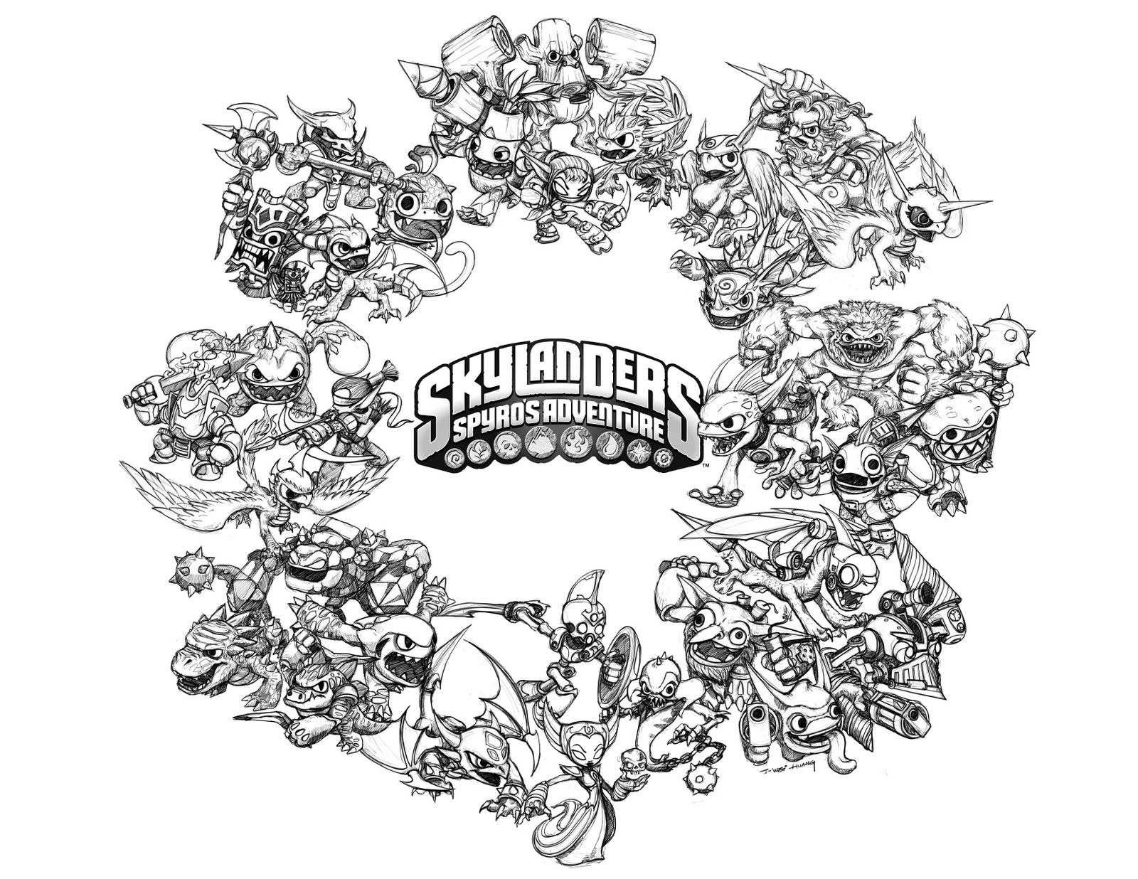 skylander wrecking ball coloring pages | Skylanders: Spyro's Adventure : Coloriage Skylanders à ...
