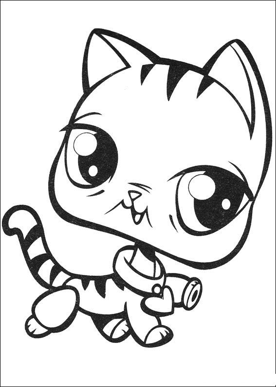 Coloriage Yeux Chat.Coloriage Littlest Pet Shop Chat A Imprimer Et Colorier