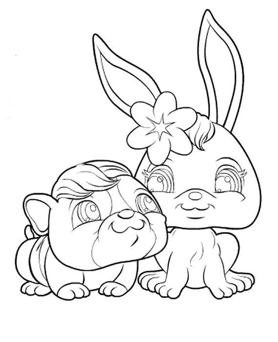 Coloriage Pet Shop chien et lapin