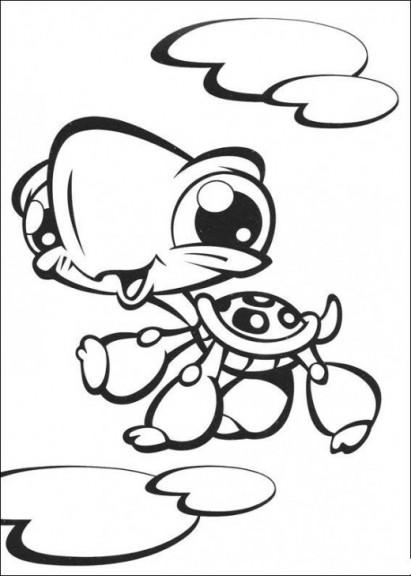 Coloriage Pet Shop tortue à imprimer et colorier