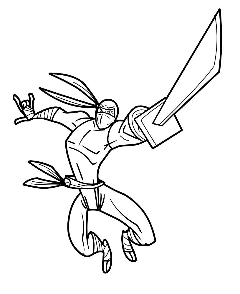 Coloriage guerrier ninja imprimer et colorier - Dessiner un ninja ...