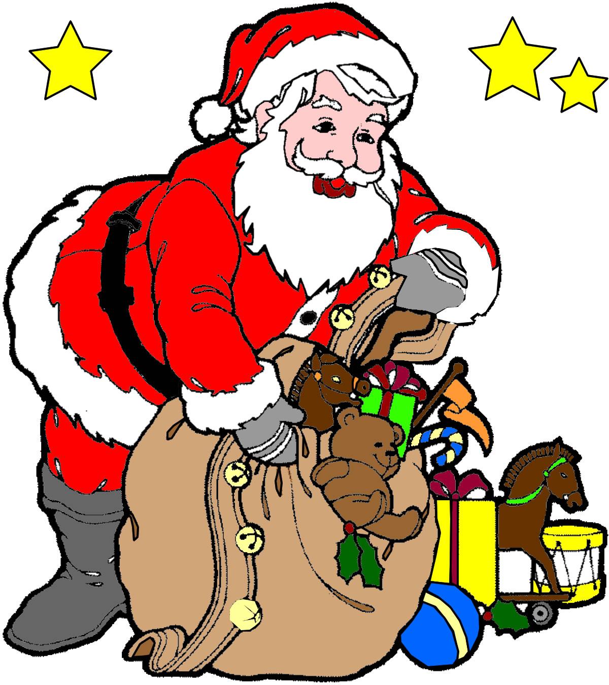 Coloriage Père Noël et sa hotte à imprimer et colorier