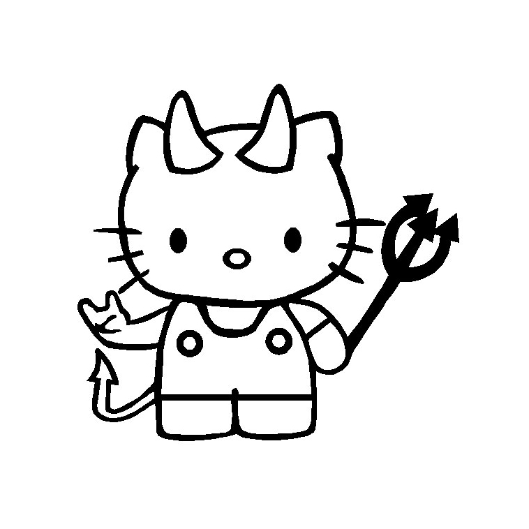 Coloriage Hello Kitty En Diable A Imprimer Et Colorier