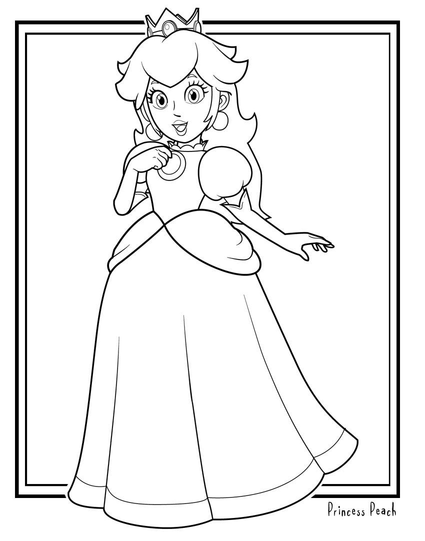 Coloriage Princesse Peach A Imprimer Et Colorier