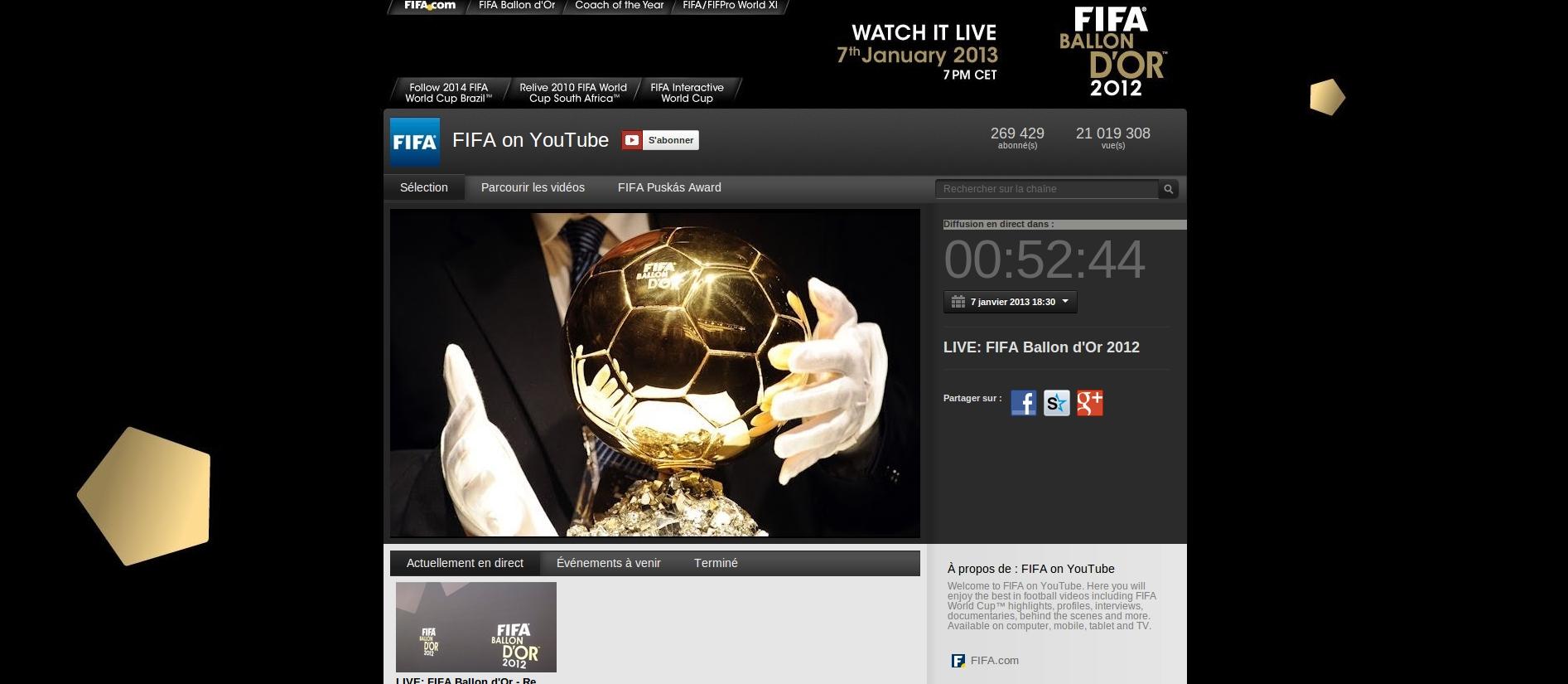 Fifa ballon d'or 2012 en direct