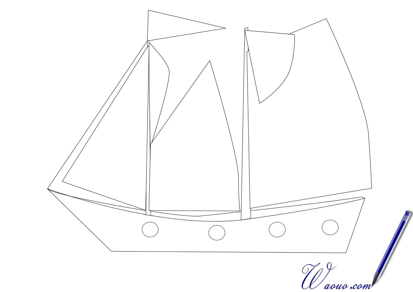 Coloriage bateau voile