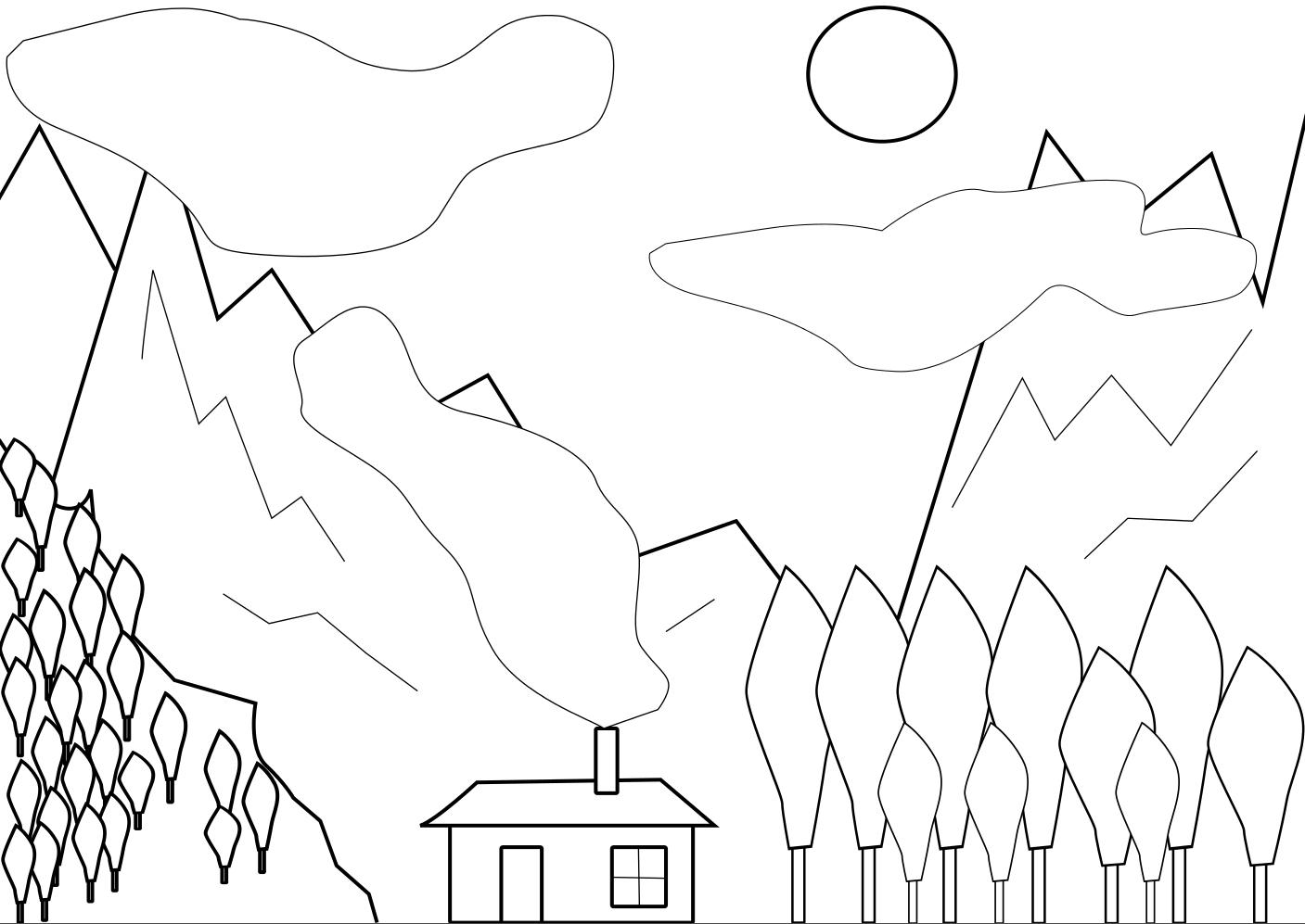 Coloriage de beaux paysages imprimer et colorier - Dessin a colorier paysage ...