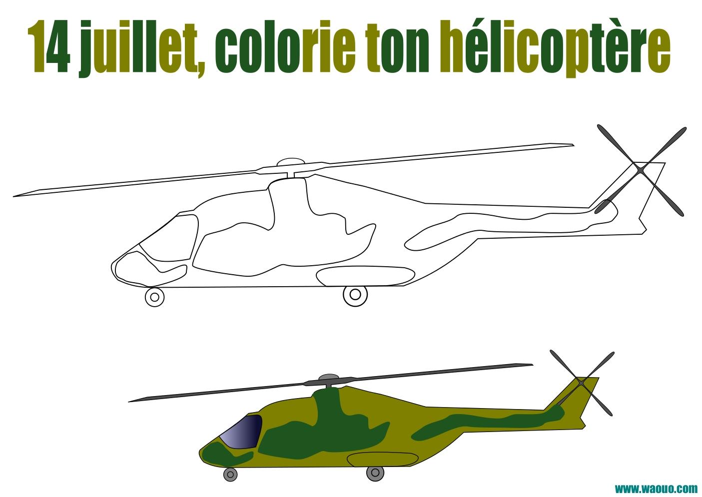 Coloriage Hélicoptère Pour Le 14 Juillet à Imprimer Et Colorier