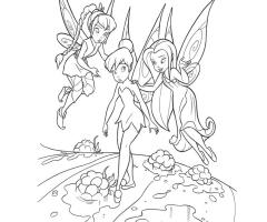 Coloriage fée clochette avec d'autres fées
