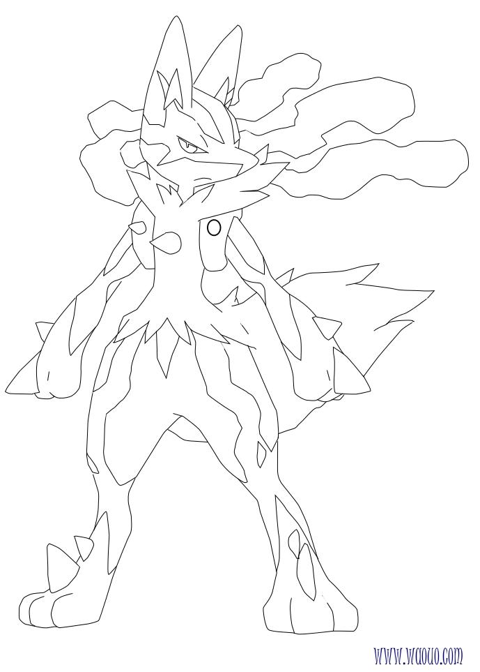 Coloriage m ga lucario pokemon x et y imprimer - Coloriage de pokemon x y ...