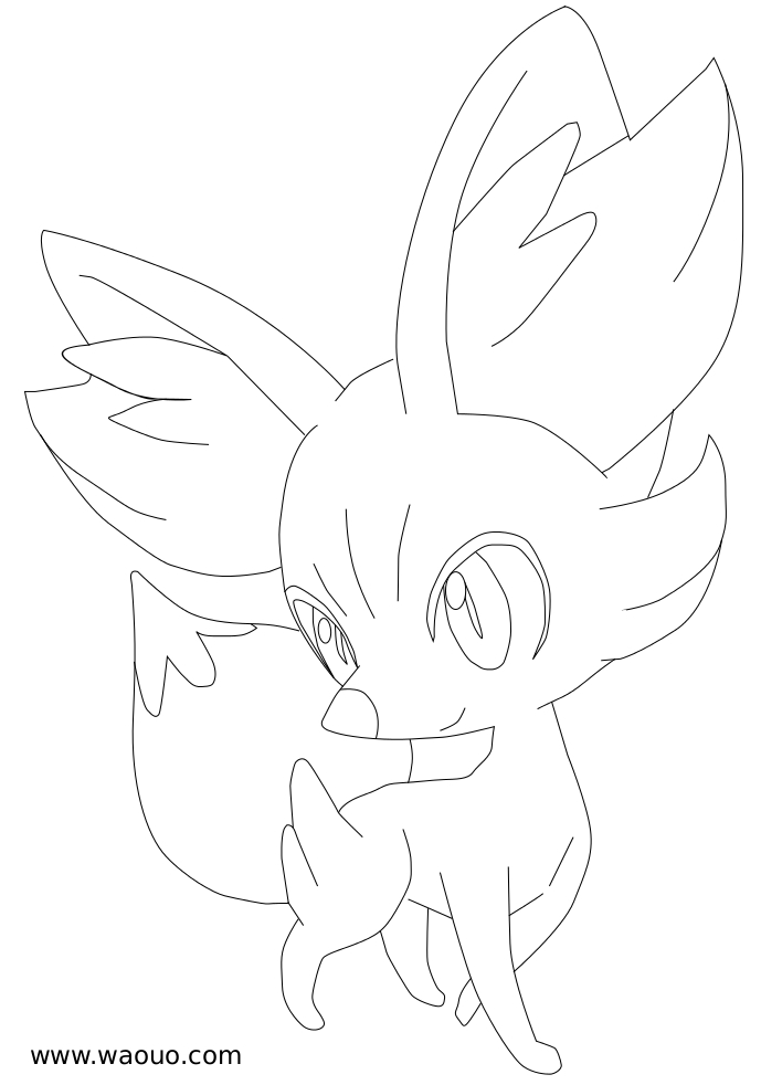 Coloriage Feunnec Pokemon X et Y à imprimer