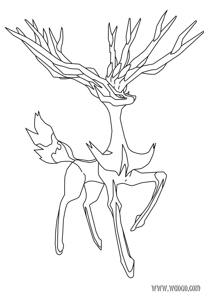Coloriage Xerneas Pokemon Legendaire X Et Y A Imprimer