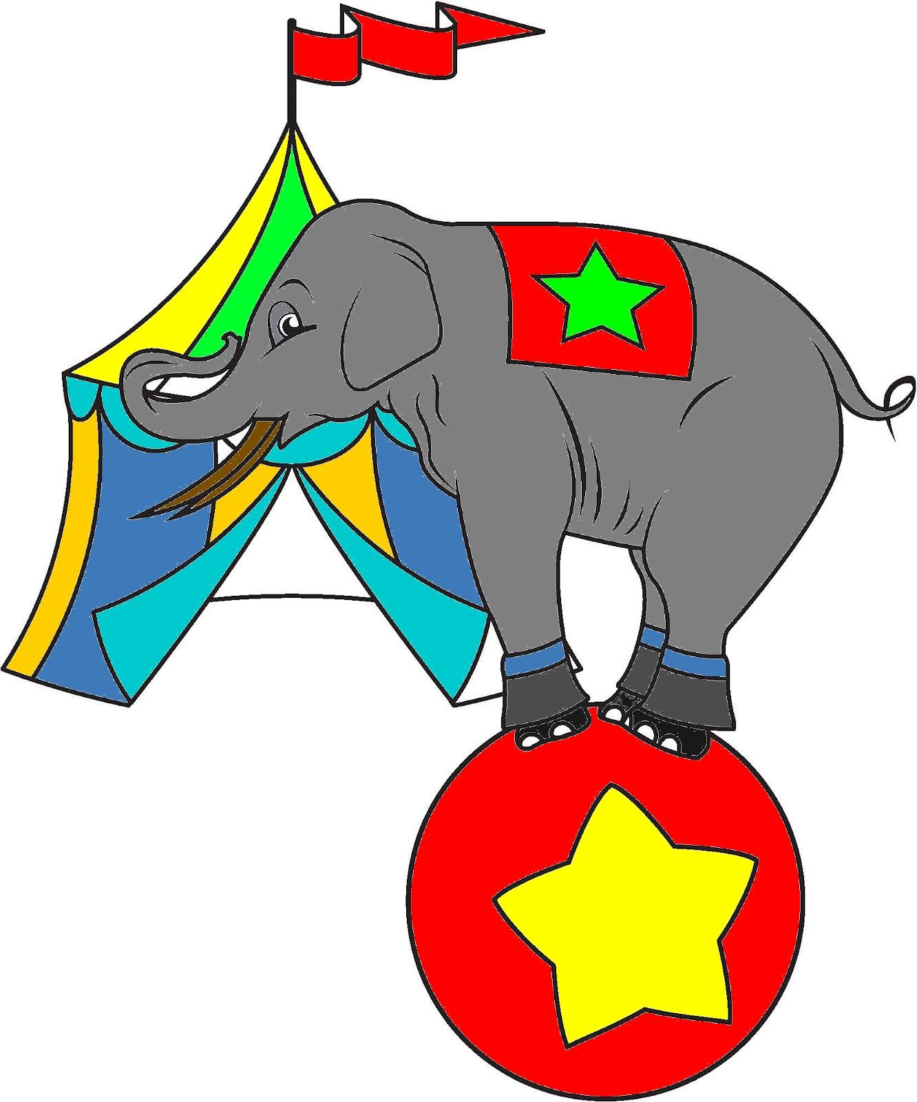 Coloriage éléphant De Cirque Et Chapiteau Gratuit à Imprimer