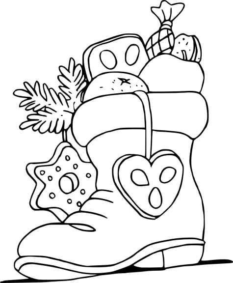 Coloriage botte de noël