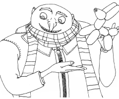 Coloriage Gru moi moche mechant